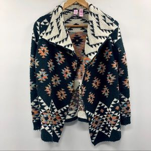 Love On A Hanger Open Front Southwestern Cardigan